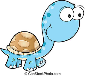 Silly Cute Turtle Vector Art