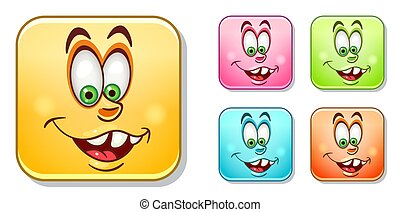 Silly Emoticons Collection - Happy silly laughing Emoji...