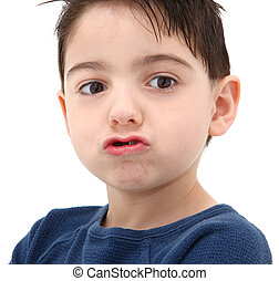 Silly Face - Adorable five year old boy making silly pucker...