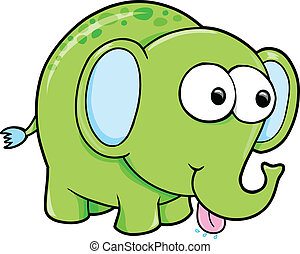 Silly Funny Elephant Animal Vector