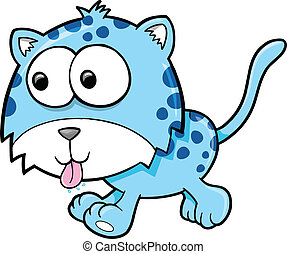 Silly goofy Leopard Animal Vector