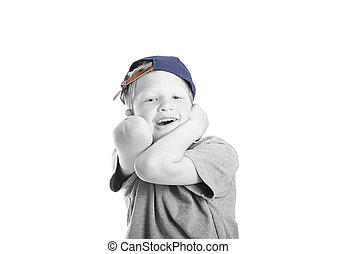silly kid with blue hat
