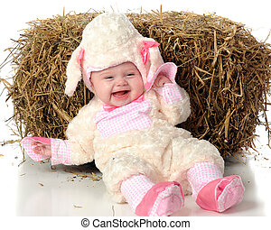 Silly Little Lamb - An adorable baby laughing in her furry...
