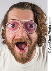 Silly Man Glasses - Silly surprised four eyed man wearing...