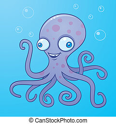 Silly Octopus - Vector cartoon illustration of a happy...