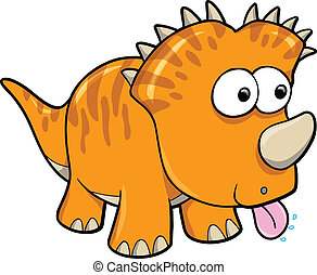 Silly Orange Dinosaur Animal Vector