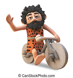 Silly stone age caveman riding on his homemade stone bike, ...