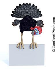 Silly toon turkey sitting on blank sign.