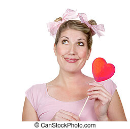 Silly woman holding a heart