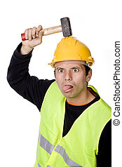 silly - young casual worker portrait with a hammer
