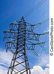 silný, elektřina, napětí, pylon