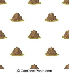 silný, příkrý, hora, s, pastvina, ta, tajnůstkářský barva, s, mazaný, spikes.different, hory, svobodný, ikona, do, karikatura, móda, vektor, znak, kmen, illustration.