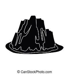 silný, příkrý, hora, s, pastvina, ta, tajnůstkářský barva, s, mazaný, spikes.different, hory, svobodný, ikona, do, čerň, móda, vektor, znak, kmen, illustration.
