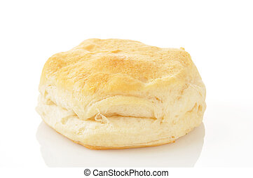 A large buttermilk biscuit on a white background