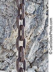 silny, łańcuch, skała