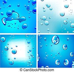 silny, płyn, barwa, tło, krople, kontrast