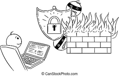 silny, pracujący, firewall, zabezpieczony, albo, komputer, biznesmen, hasło, rysunek, człowiek