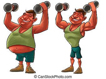 silny, tłusty człowiek