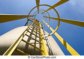 Silo access - Steps leading up to the top of an industrial...