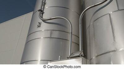 Silo, grain tank.Low angle view,moving image - Silo grain...