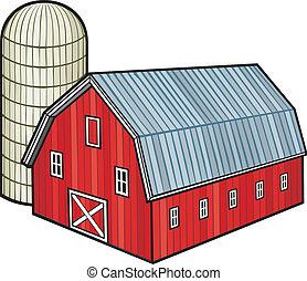 silo, granero, rojo, (barn, granero