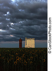 silo on a stormy night