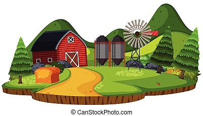 silo, terreno coltivato, granaio, paesaggio, natura