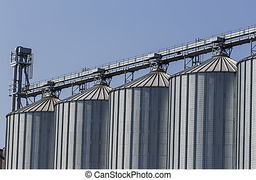 silos in a warehouse - silos for agricultural goods in a...