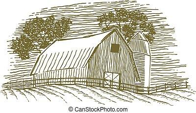 silos, stodoła, drzeworyt, ikona