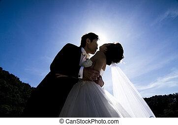 siluet, 接吻, 恋人, 結婚式