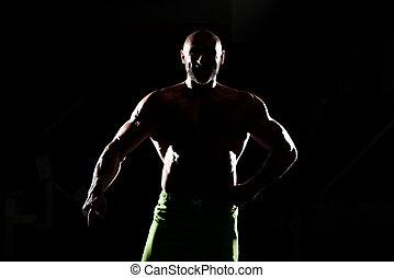 siluet, músculos, flexionar,  Muscular, homem