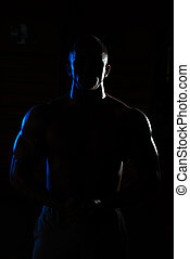 siluet, músculos, jovem, muscular, flexionar, homem