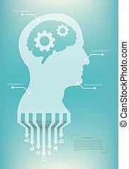 siluet, nät, huvud, begrepp, affär, mobil, media, abstrakt, isolerat, illustration, skapande, ansökan, infographic, vektor, mall, social, gears., design, bakgrund