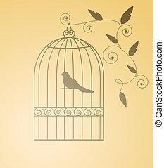 siluet, oiseau, dans, a, cage