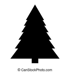 silueta, árbol, aislado, plano de fondo, navidad blanca