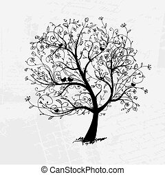 silueta, árbol, hermoso, diseño, arte, su, negro