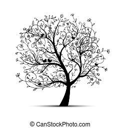silueta, árvore, bonito, desenho, arte, seu, pretas