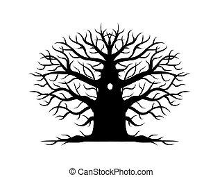 silueta, árvore, desenho, nu, antigas, seu
