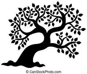 silueta, árvore frondosa