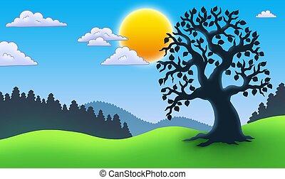 silueta, árvore frondosa, paisagem