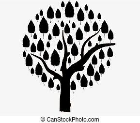 silueta, árvore, isolado, fundo, vetorial, pretas, branca