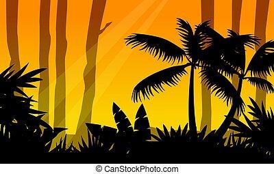 silueta, árvore, selva, paisagem