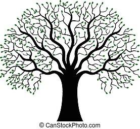 silueta, árvore, verde, caricatura
