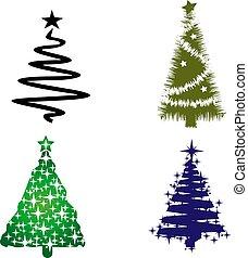 silueta, árvores, cobrança, fundo, christmas branco