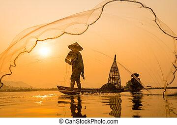 silueta,  Ásia, manhã, pescador, bote, tempo, amanhecer
