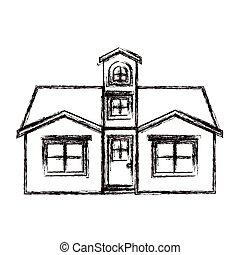 silueta, ático, casa, confuso, fachada, monocromo