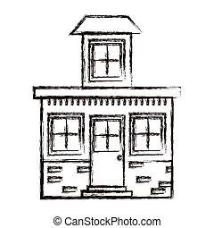 silueta, ático, casa, confuso, pequeño, monocromo