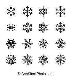 silueta, ícones, ilustração, vetorial, pretas, snowflake