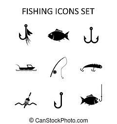 silueta, ícones, set., ilustração, vetorial, pesca