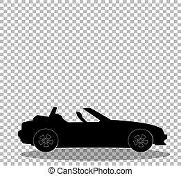 silueta, aberta, cabriolé, car, modernos, pretas, caricatura